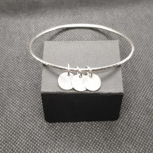 2mm Round Bangle, Light Hammered Effect with charms 2